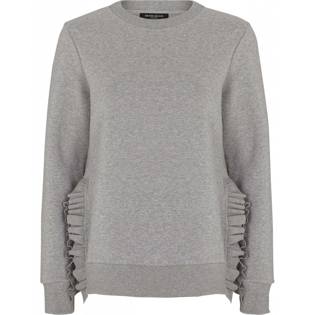 Bruuns Bazaar Women Rubine Ruffel Sweater Sweatshirt Light grey mel