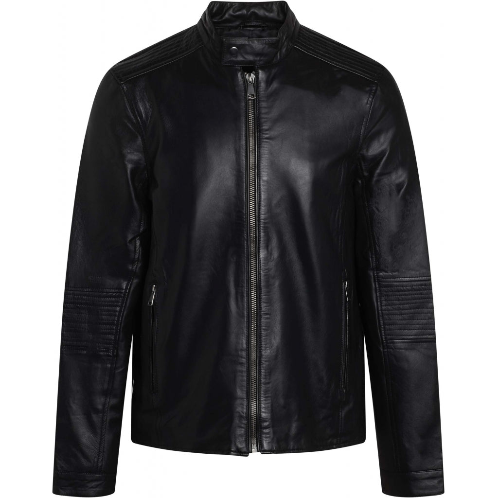 Bruuns Bazaar Men Thomas Leather Jacket Outerwear Sort