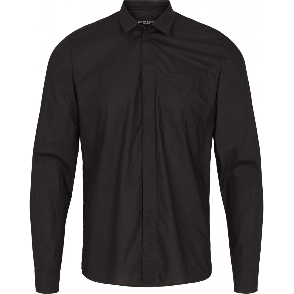 Bruuns Bazaar Men Victor Essential Skjorte Shirts Sort