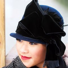 navy blue winter cloche fur felt  with velvet ribbon