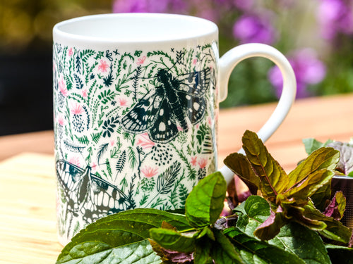 Thistles and Butterflies Bone China Mug - NatureTree