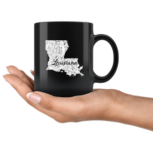 Black 11oz Mug: Louisiana Vintage