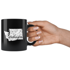 Black 11oz Mug: Washington Vintage