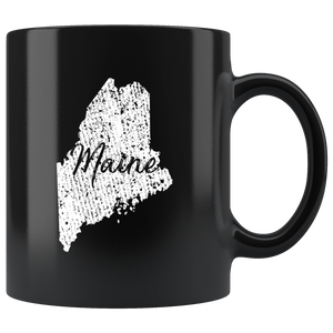Black 11oz Mug: Maine Vintage