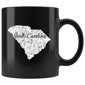 Black 11oz Mug: South Carolina Vintage
