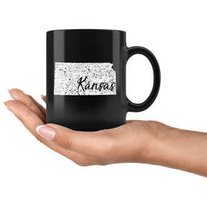 Black 11oz Mug: Kansas Vintage