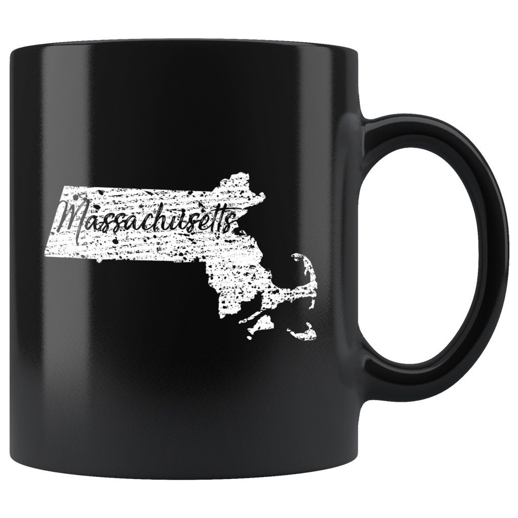 Black 11oz Mug: Massachusetts Vintage