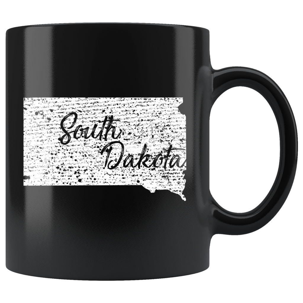 Black 11oz Mug: South Dakota Vintage