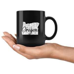 Black 11oz Mug: Oregon Vintage