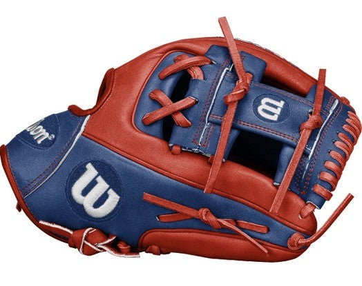 "Wilson A2000 November Glove of the Month - model 1786, size 11.5"", red/blue"