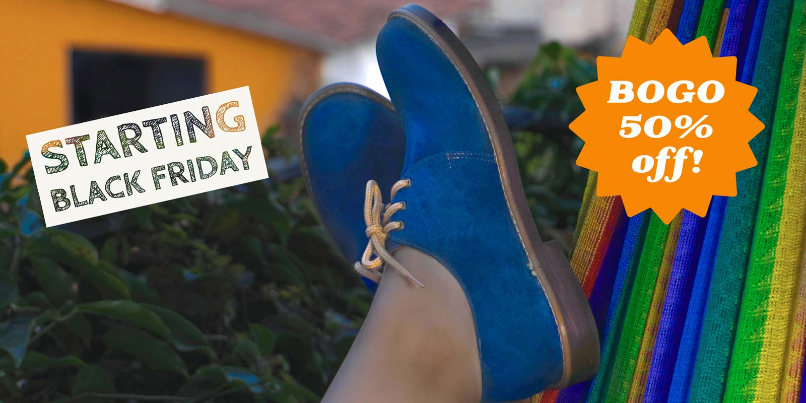 Fly Soul Shoes Organic Plant-based shoe pre-Black Friday Sales Banner.