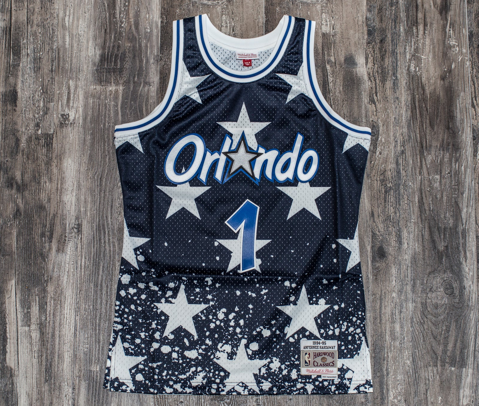 aa683466d18b MITCHELL   NESS 4TH OF JULY JERSEY 1994 Magic (Anfernee Hardaway)