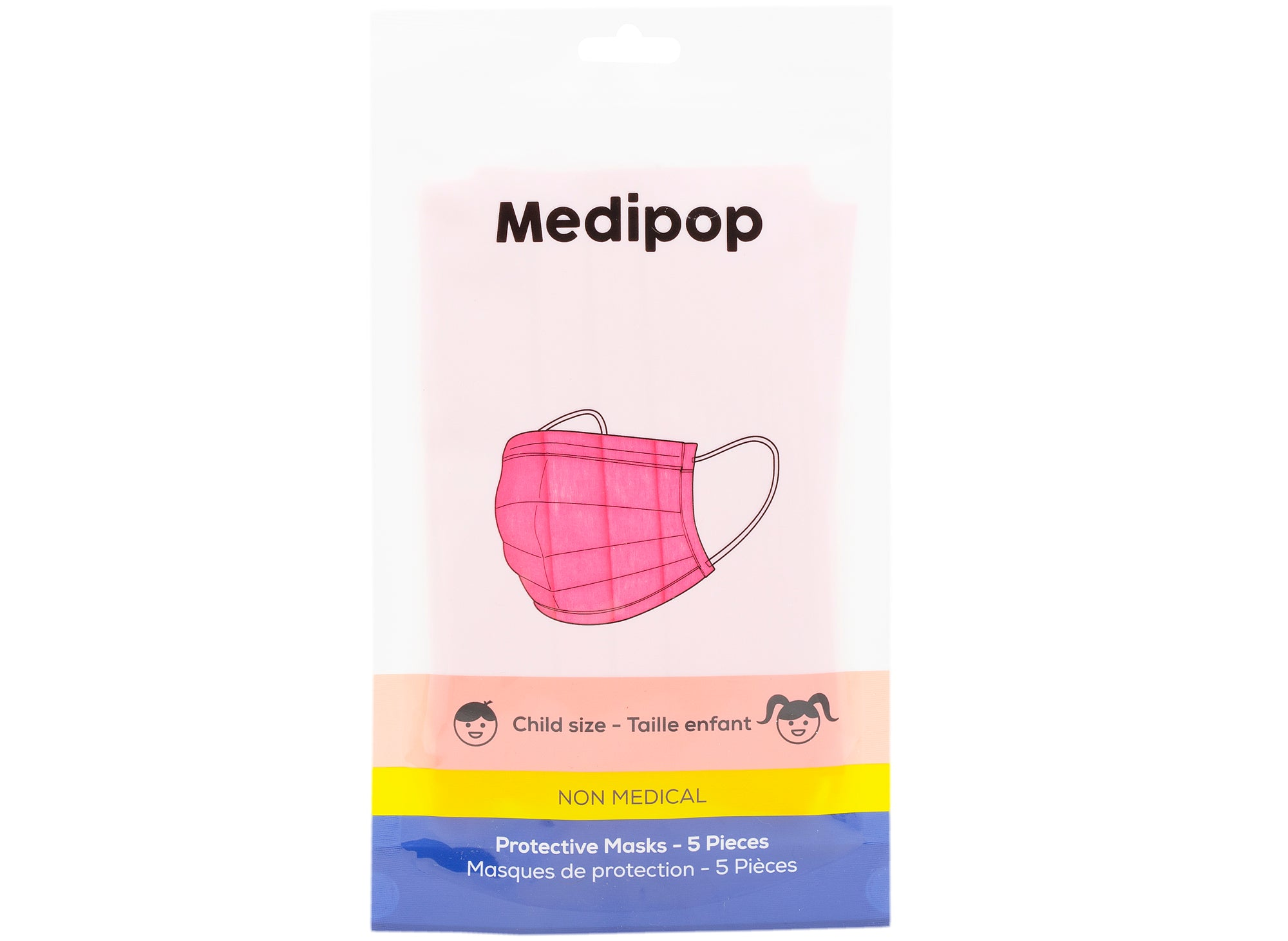 Medipop 5-Pack Standard Protective Children's Face Masks in Pink