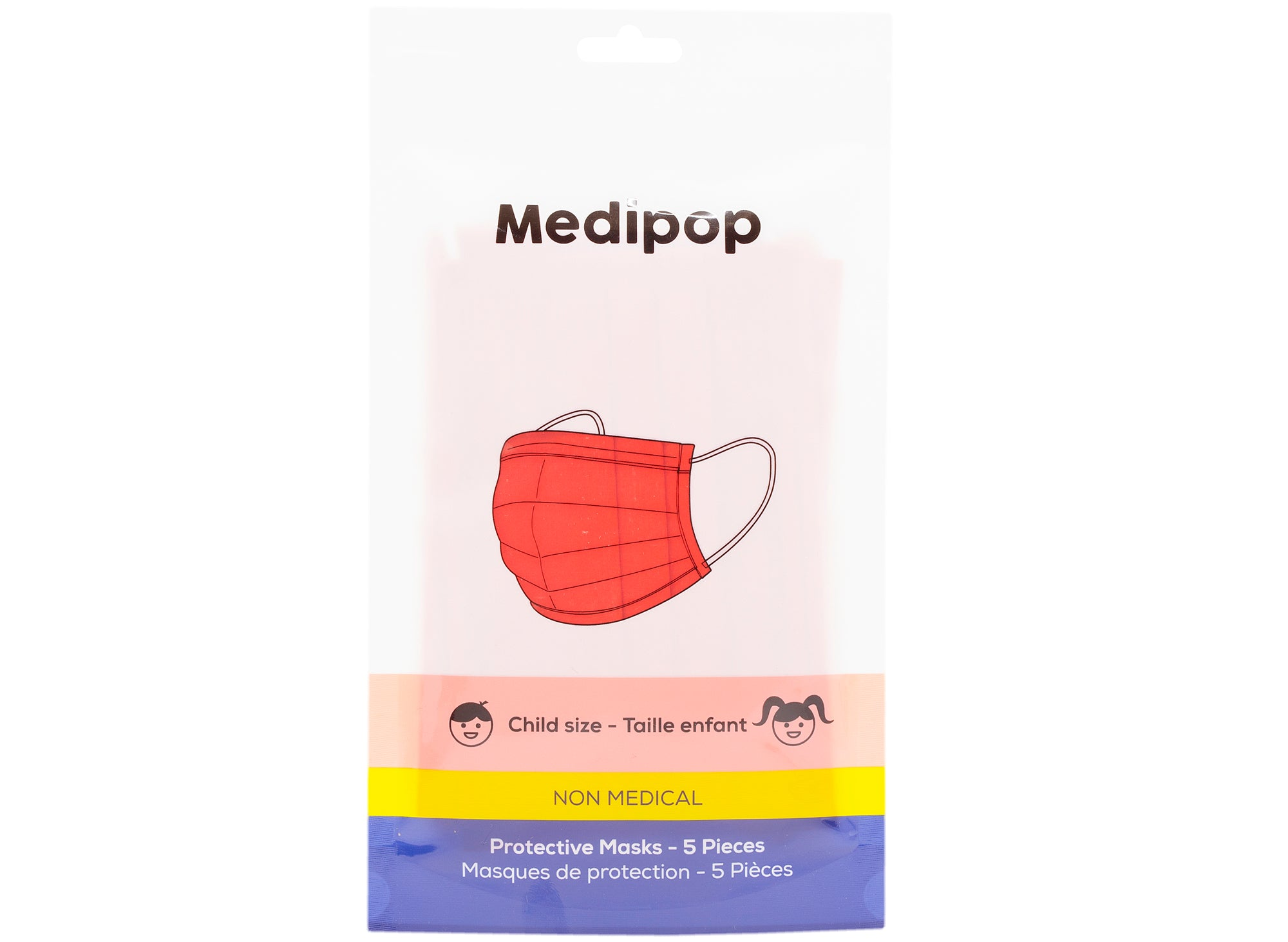 Medipop 5-Pack Standard Protective Children's Face Masks in Red
