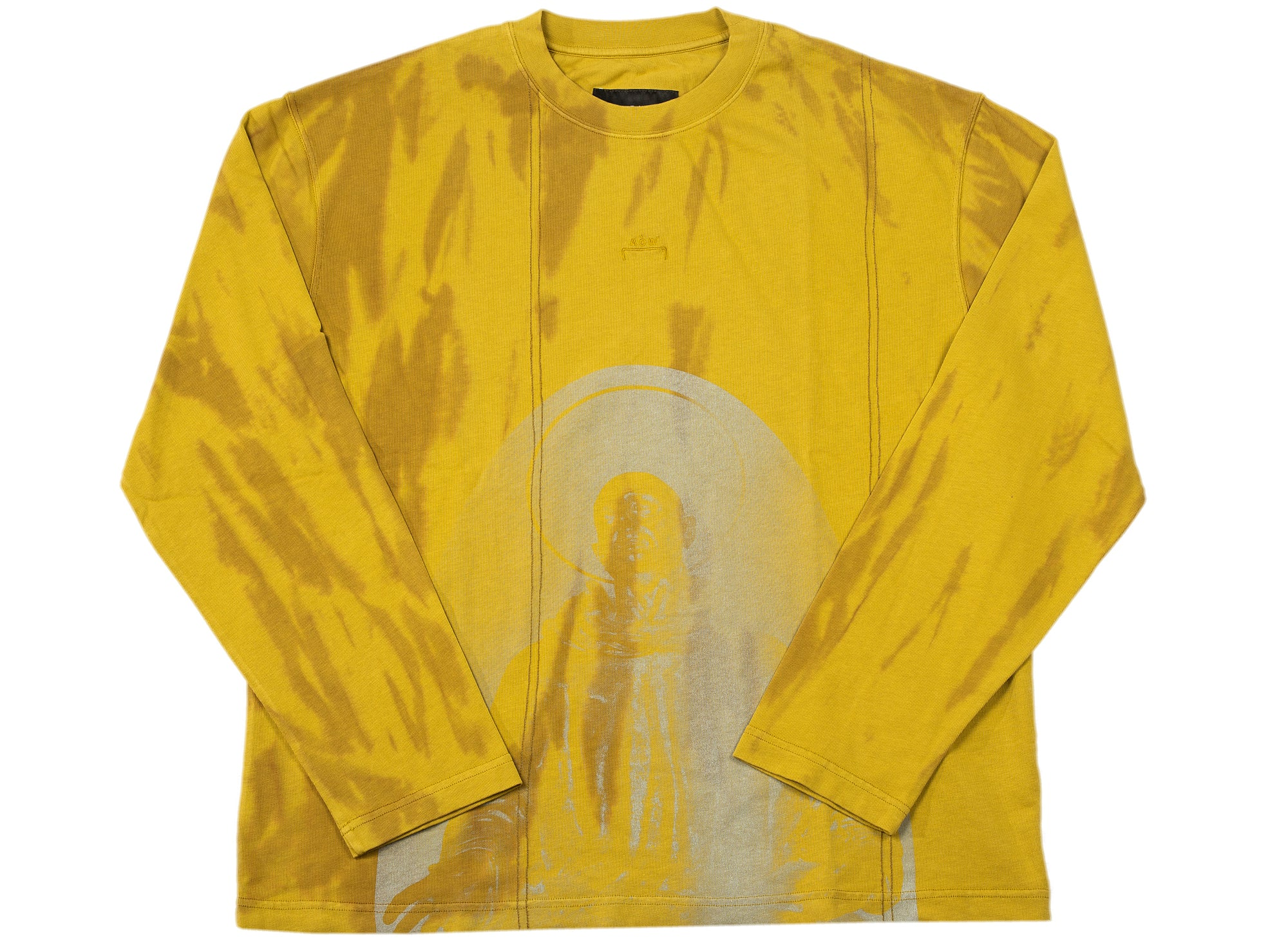 A-COLD-WALL* Knitted Overdyed Print Long Sleeve Tee in Chartreuse xld