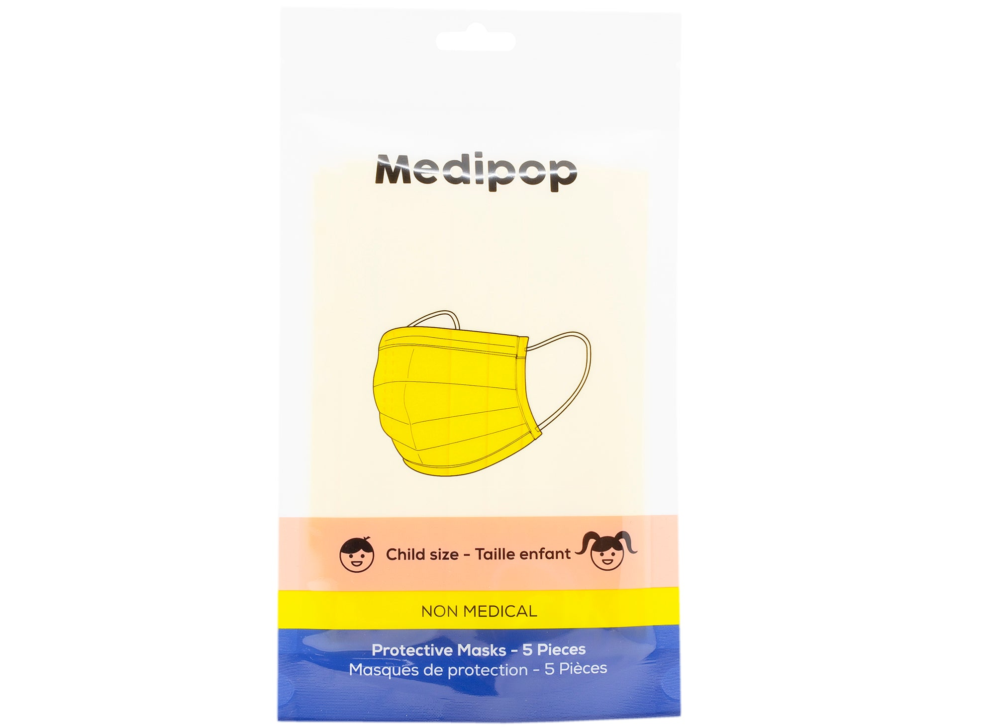 Medipop 5-Pack Standard Protective Children's Face Masks in Yellow