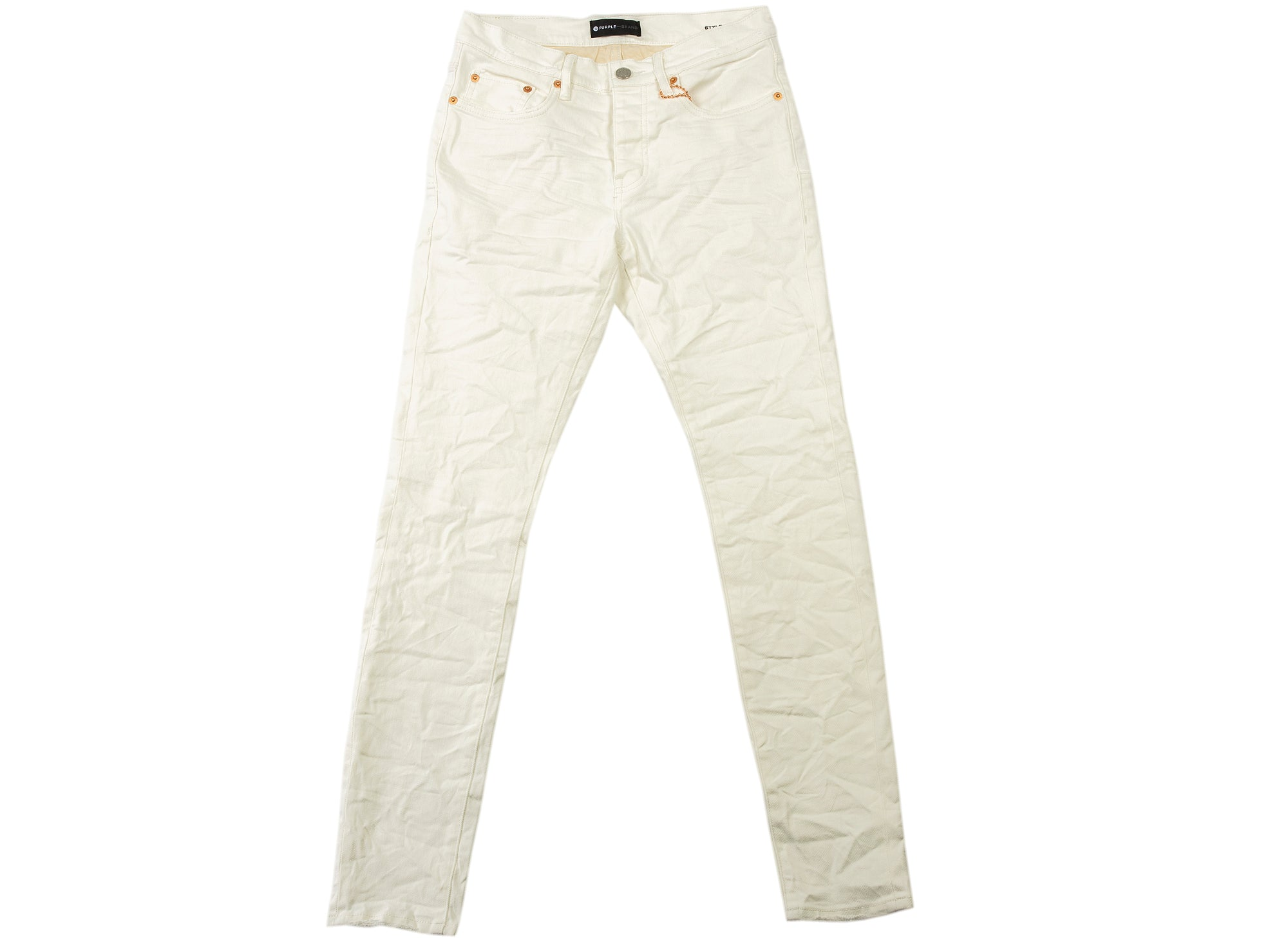 Purple Brand Low Rise Slim Leg White Washed Jeans xld