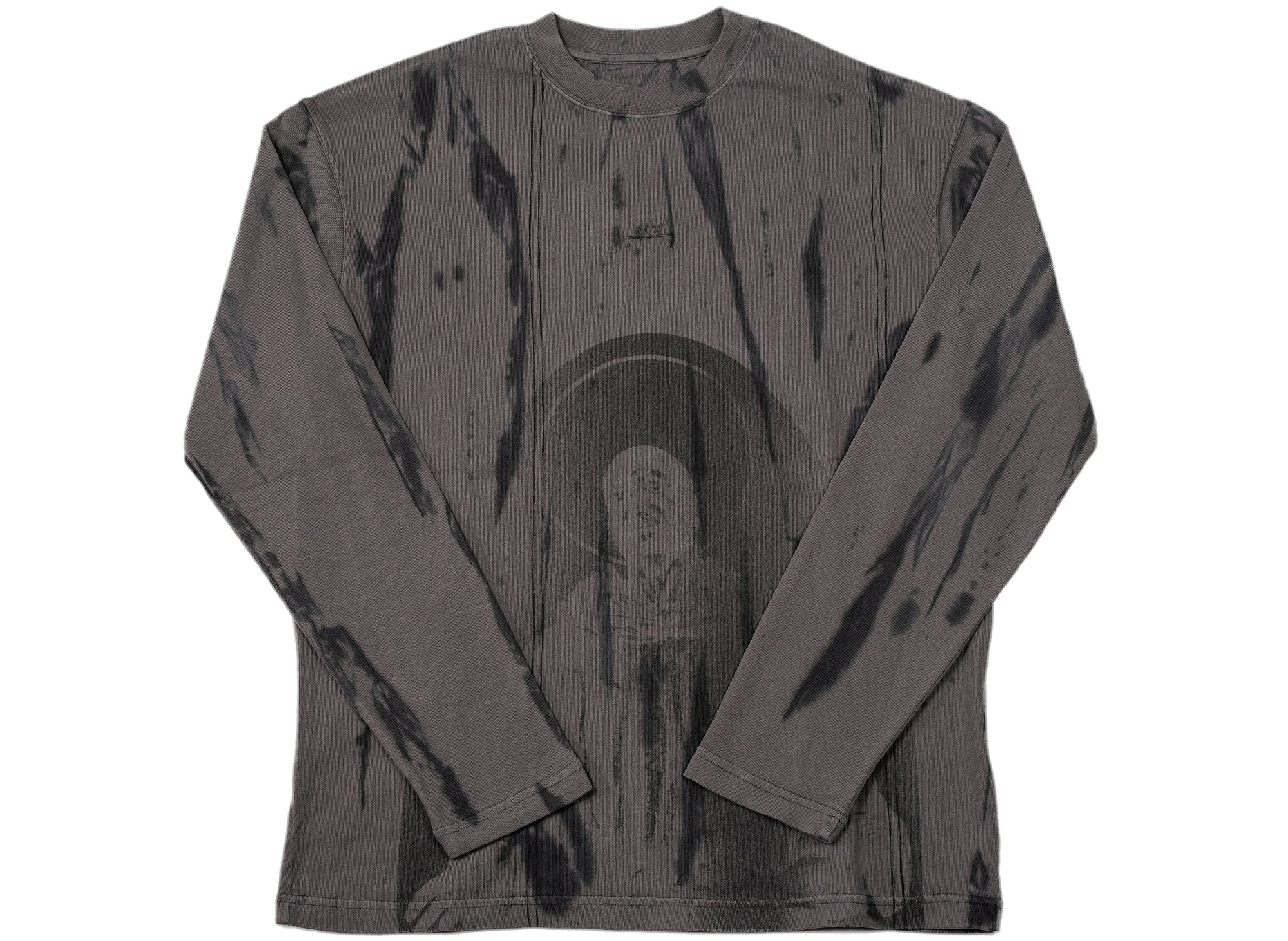 A-COLD-WALL* Knitted Overdyed Print Long Sleeve Tee in Black xld