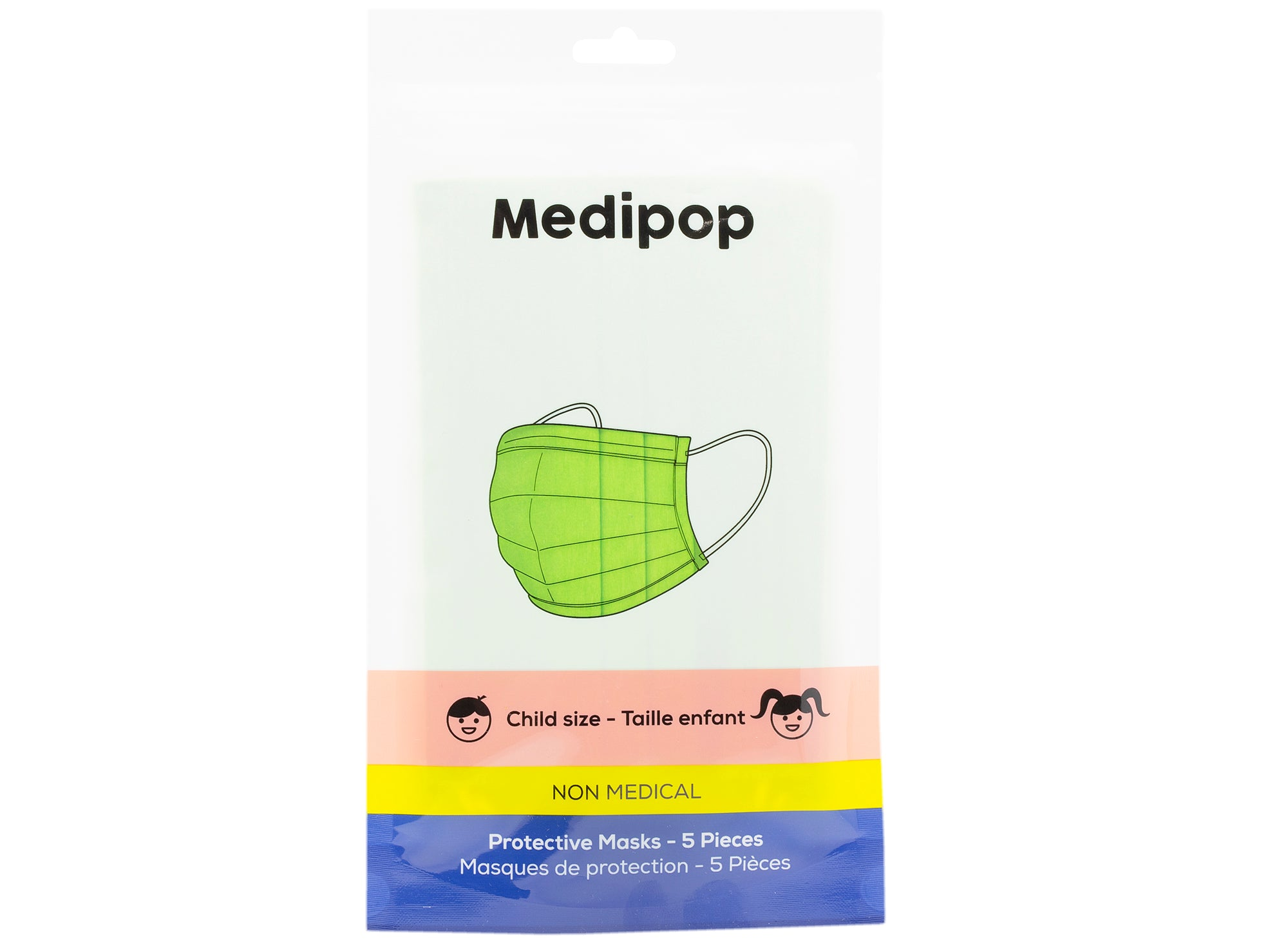 Medipop 5-Pack Standard Protective Children's Face Masks in Green