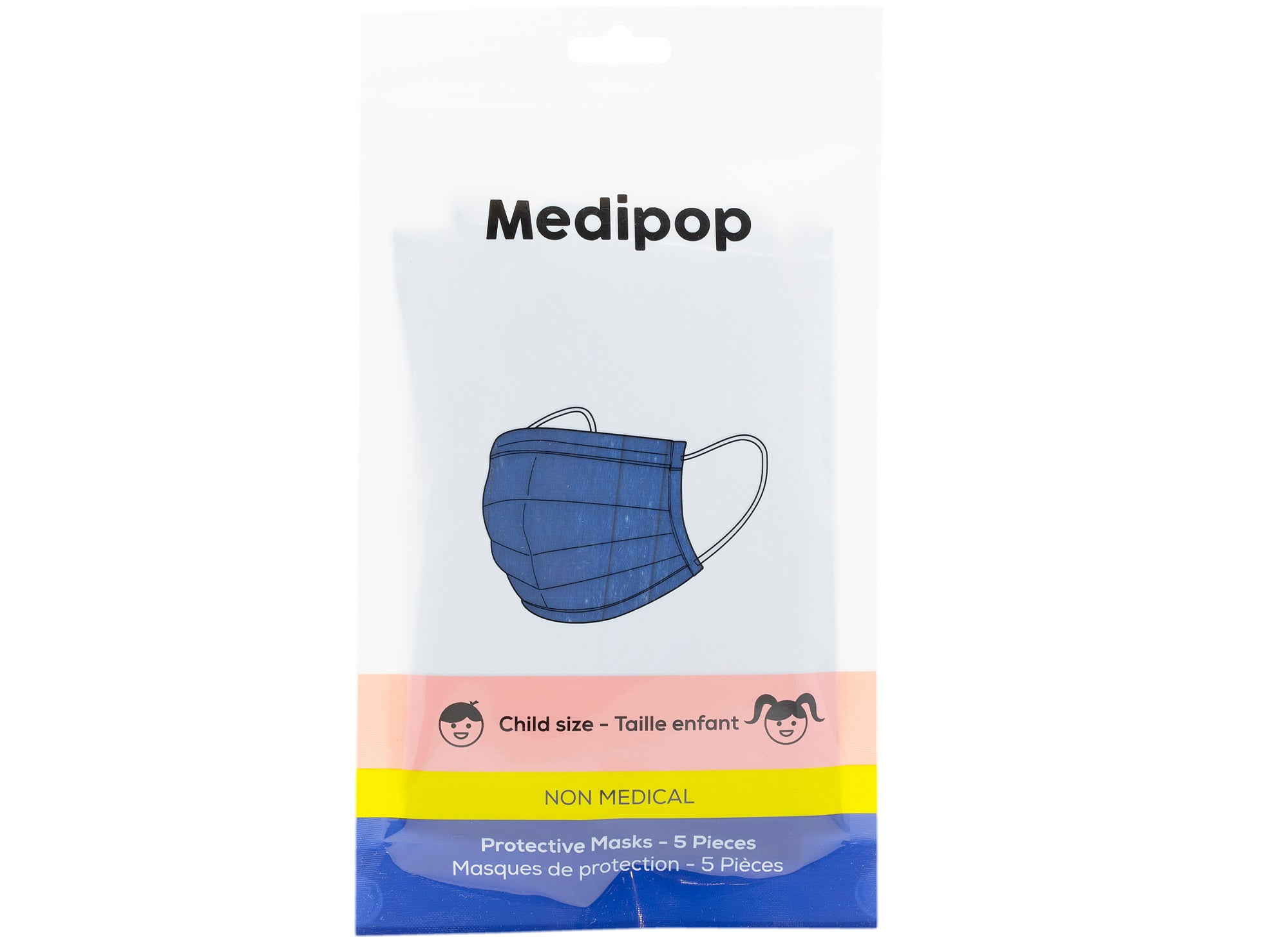 Medipop 5-Pack Standard Protective Children's Face Masks in Blue