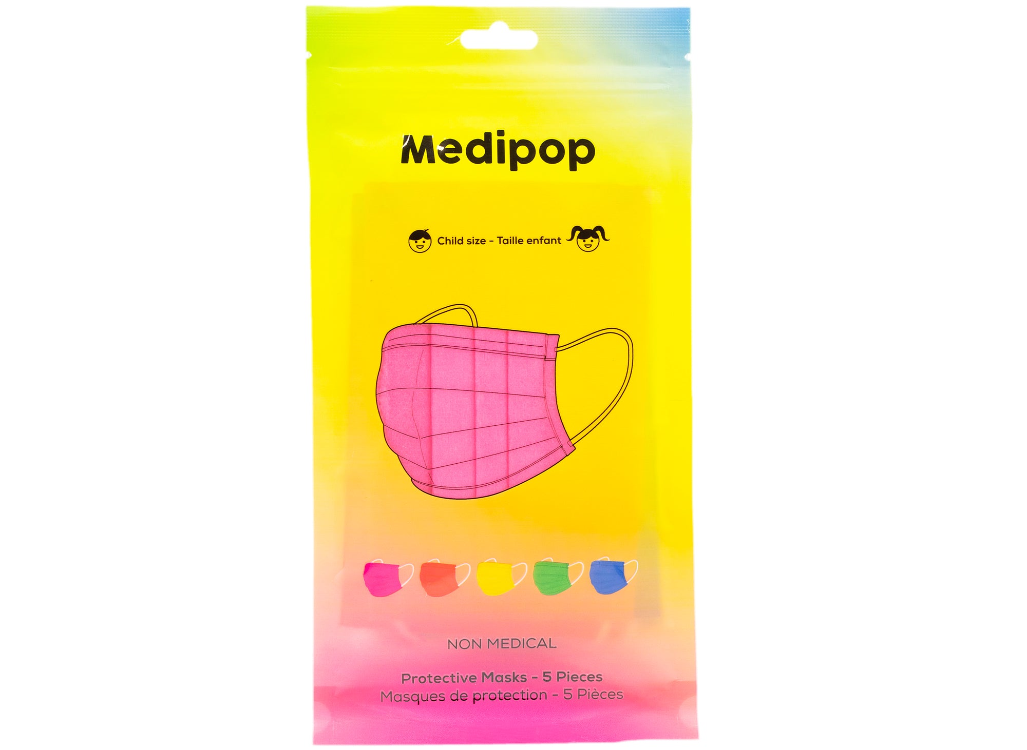 Medipop 5-Pack Standard Protective Children's Face Masks in Rainbow
