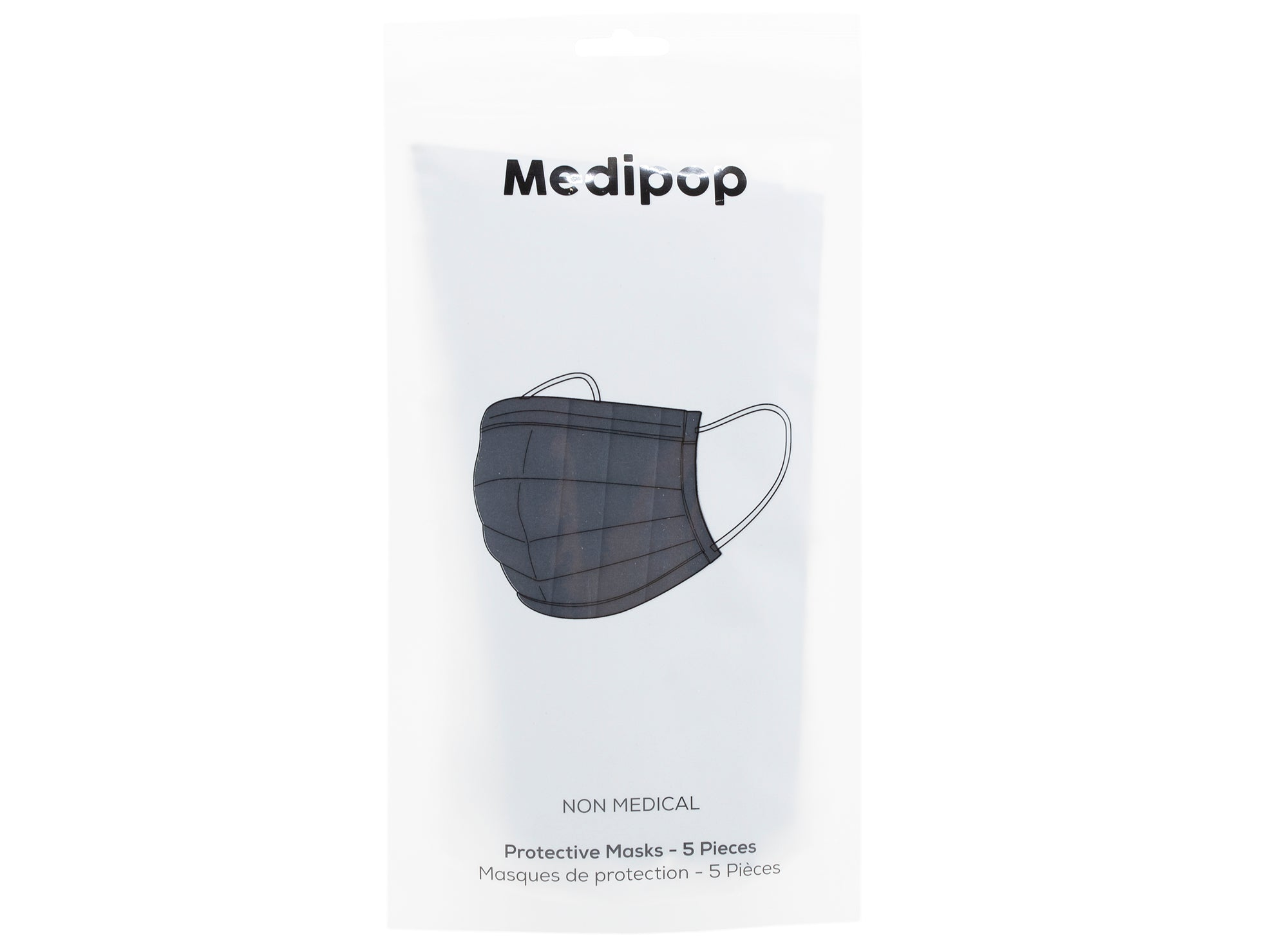 Medipop 5-Pack Adult Disposable Face Masks in Black
