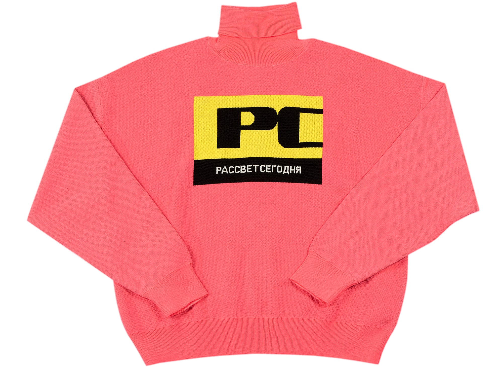 Rassvet (PACCBET) Color Block Roll Neck Sweater in Pink