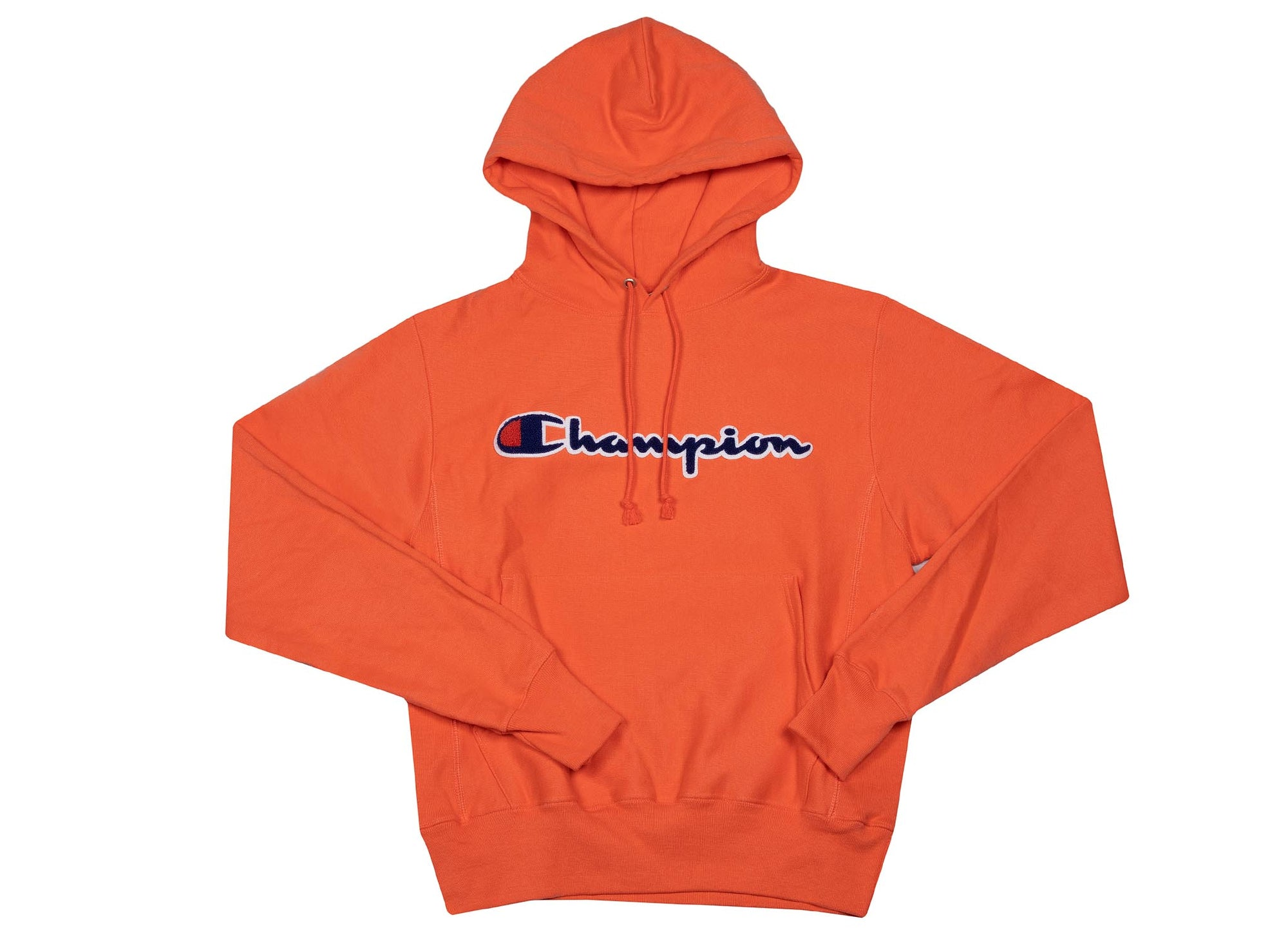 d9cd21d4d Champion Men's Reverse Weave Pullover Hoodie 'Chenille Logo' - Groovy Papaya