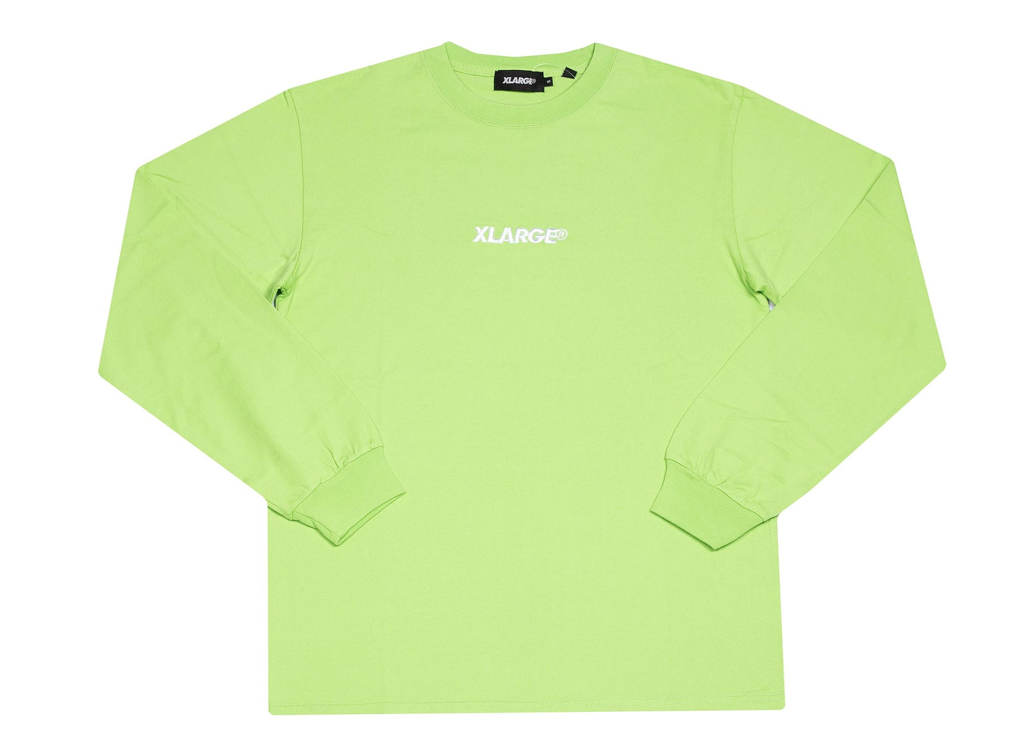 X-LARGE light green embroidery tee long sleeve