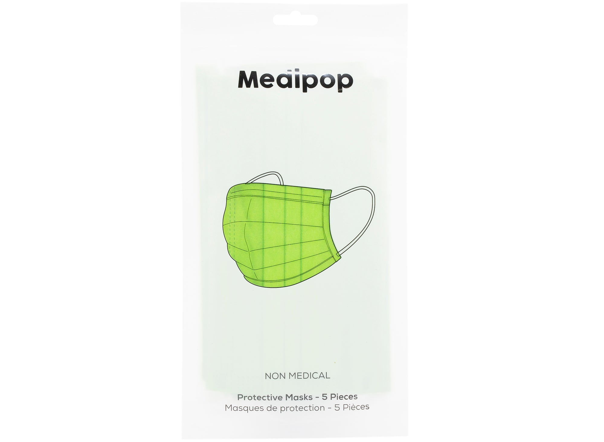 Medipop 5-Pack Adult Disposable Face Masks in Green