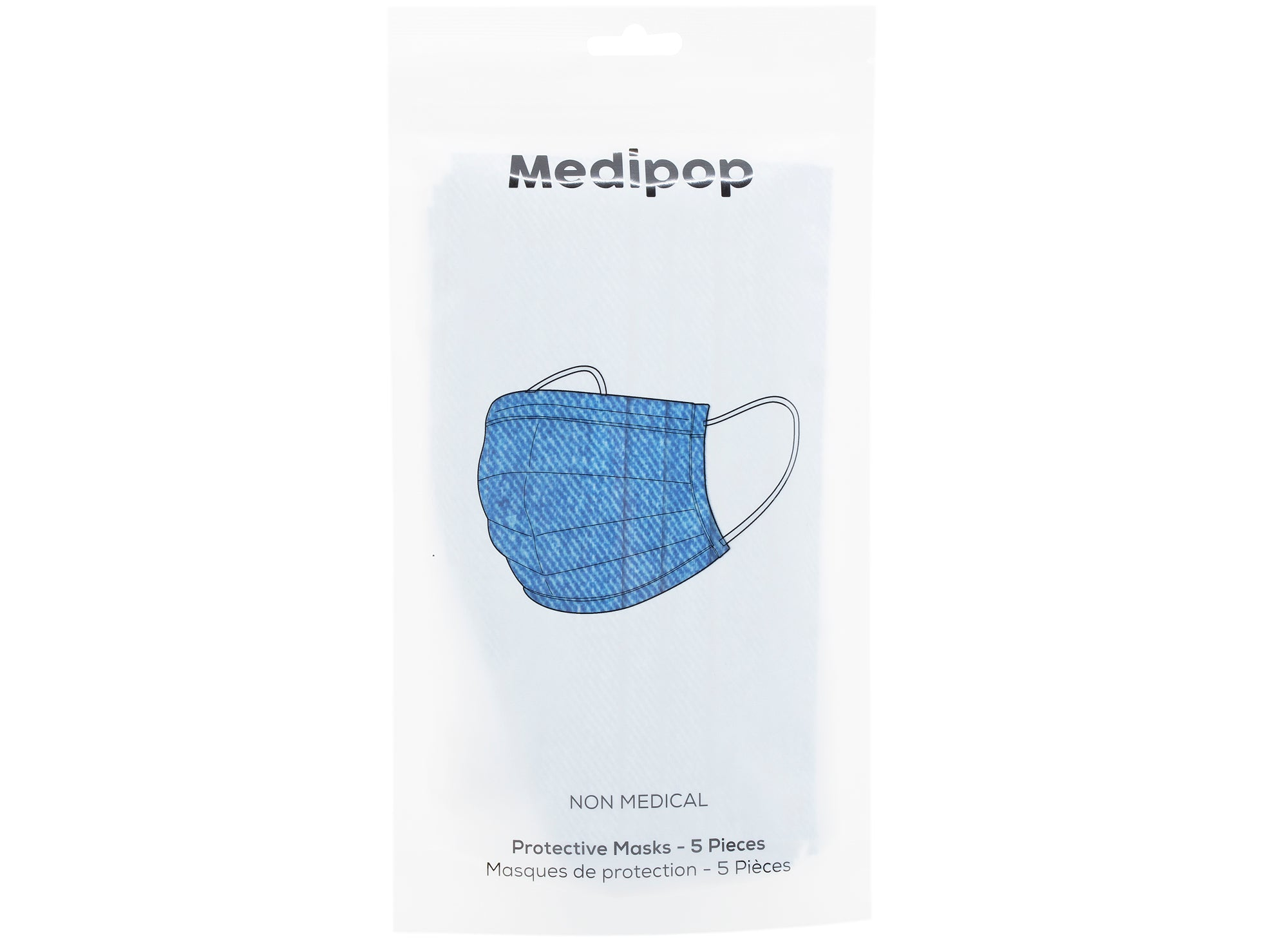 Medipop 5-Pack Disposable Denim Face Masks