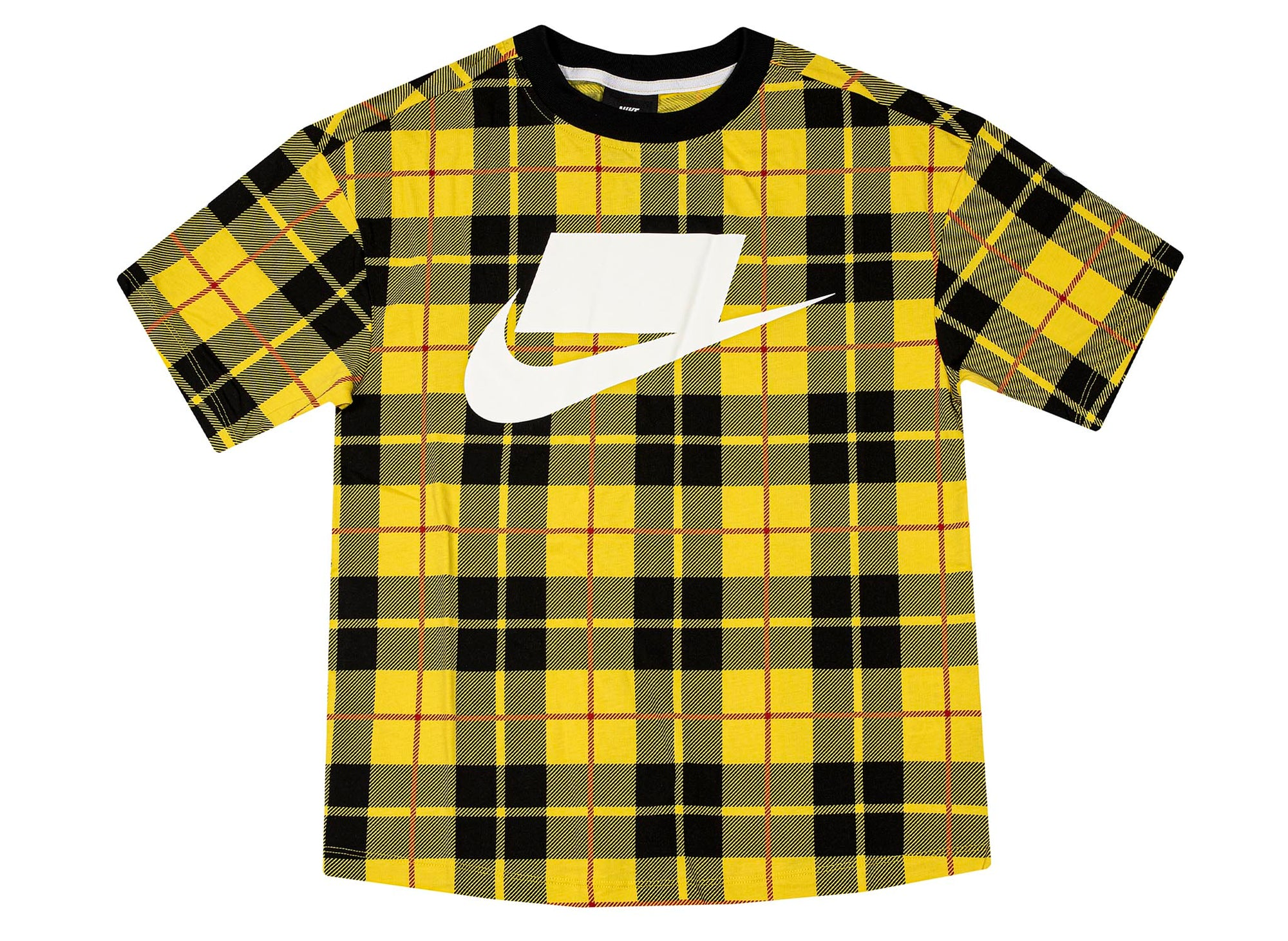 Nike Sportswear Women's Short-Sleeve Printed Top 'Yellow Plaid'
