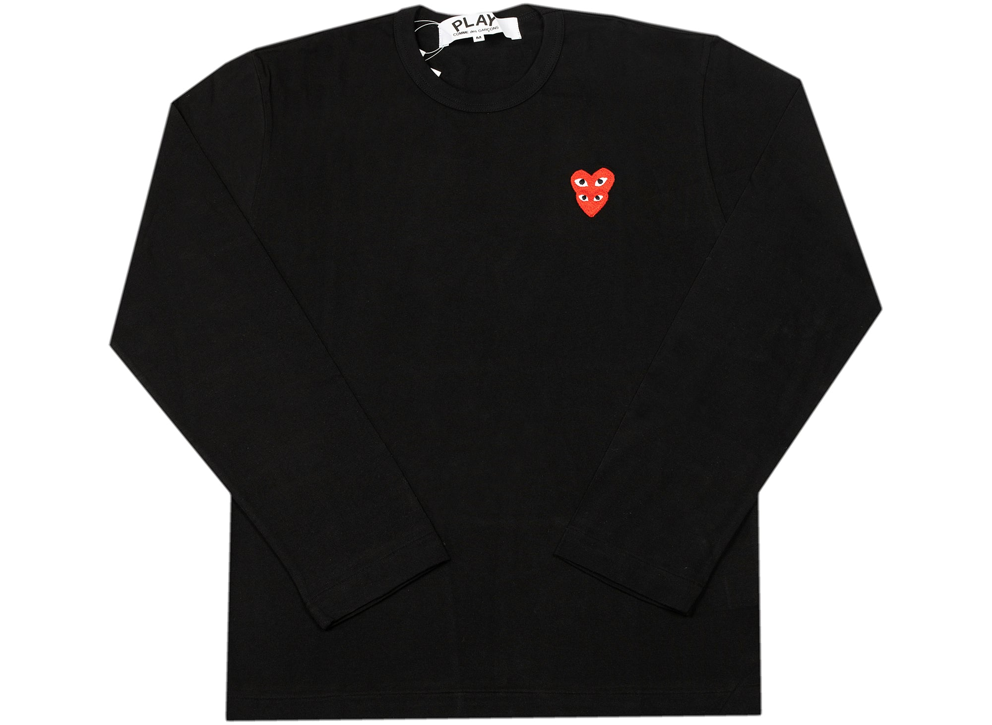 Comme des Garçons Play Stacked Heart Long Sleeve in Black