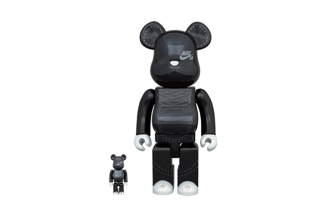 Bearbrick x Nike SB 2020 100% & 400% Set in Black xld