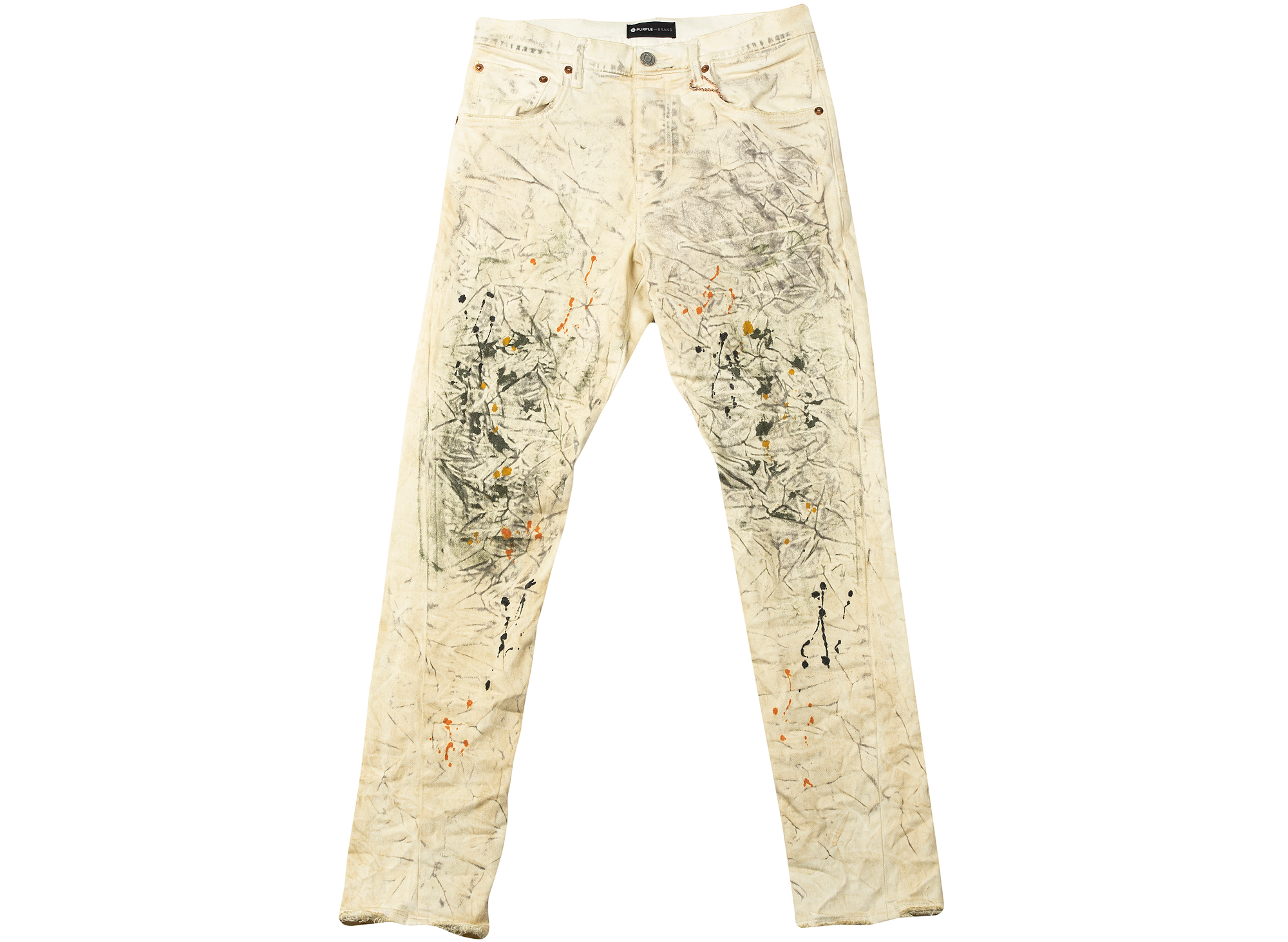 Purple Brand White Dirty Painted Jeans