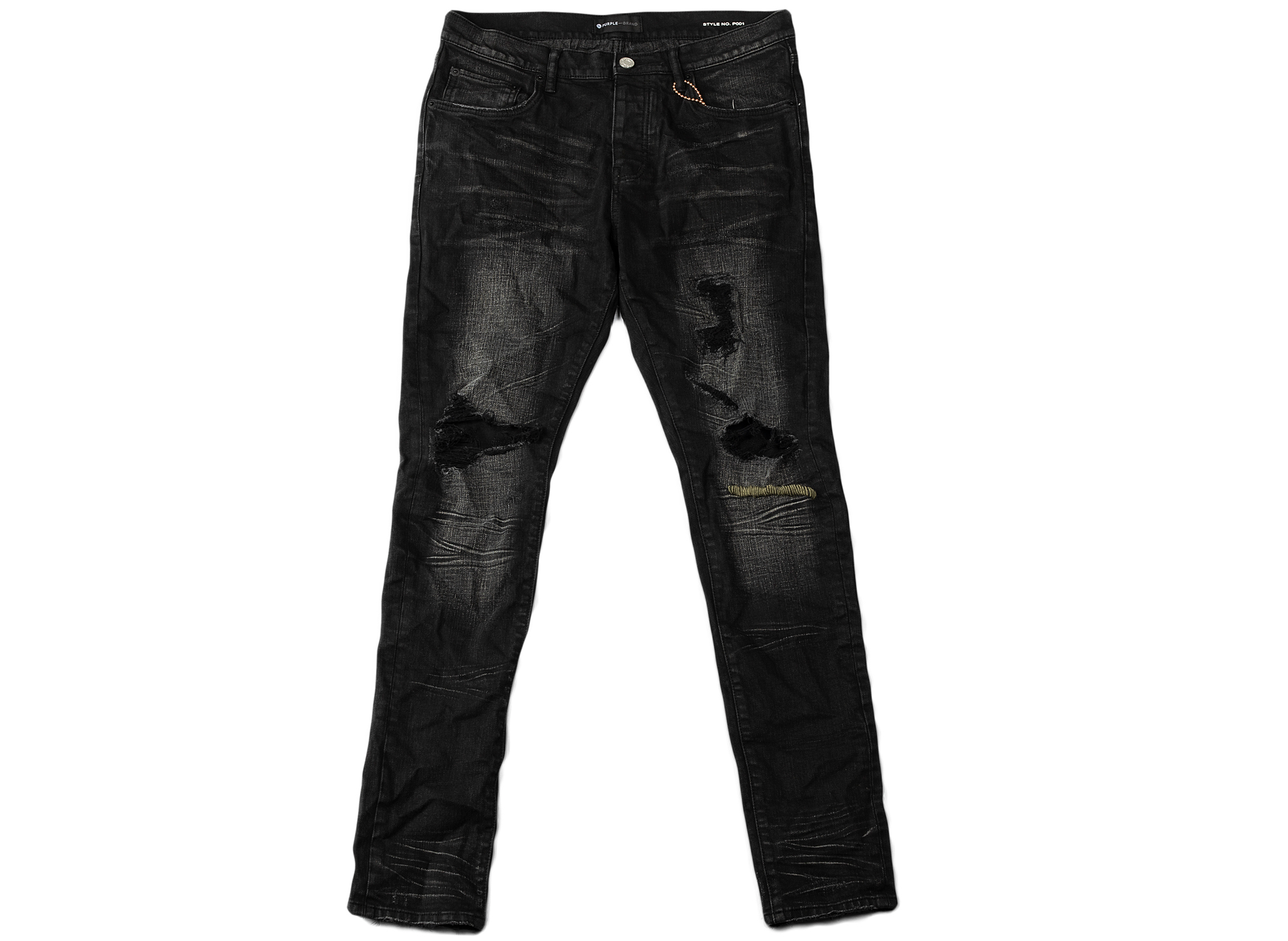 Purple Brand Black Destroyed Slim Fit Jeans xld