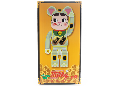 Medicom Toy Bearbrick Lucky Cat Peko-chan Glow In The Dark 1000%