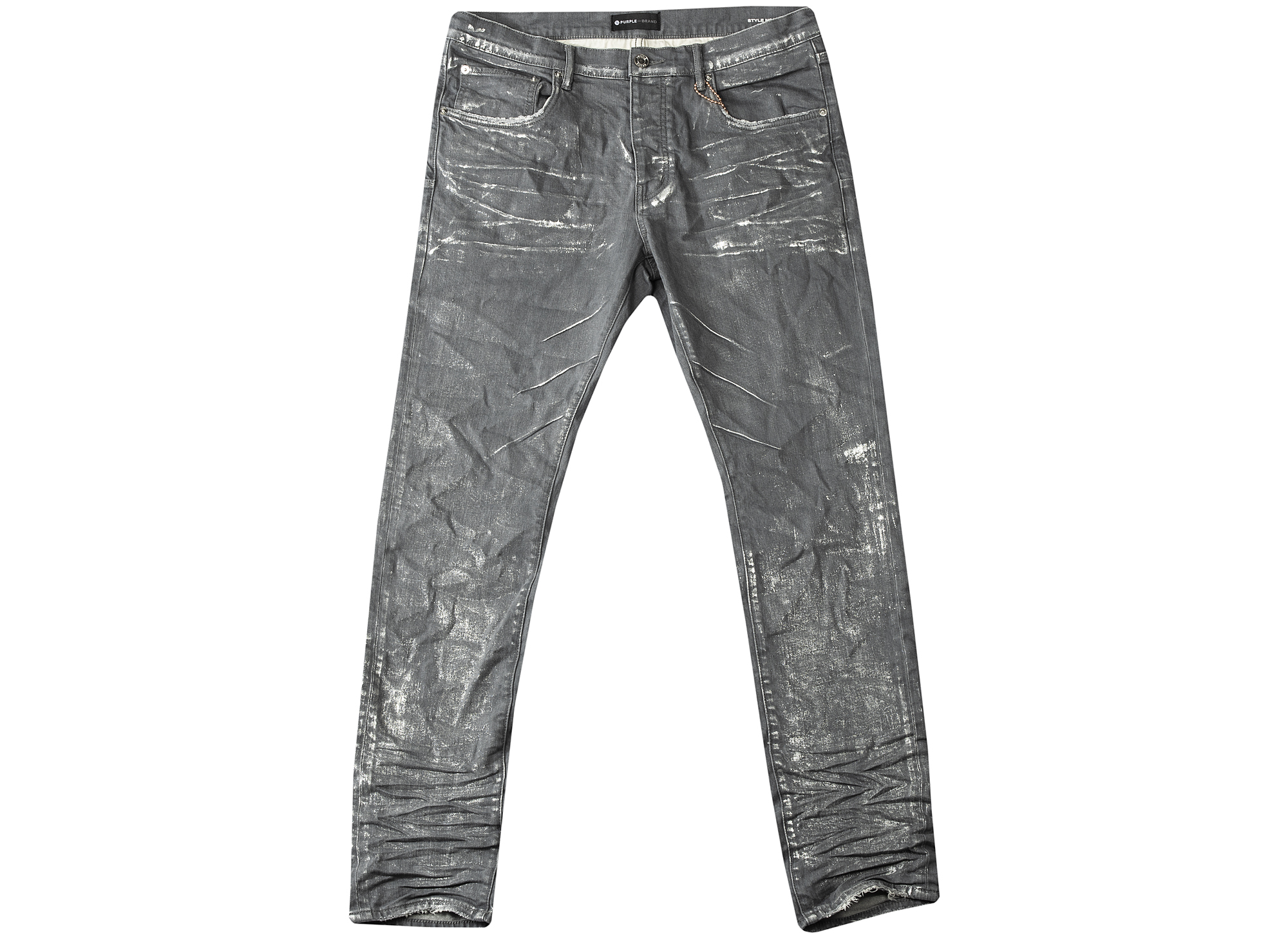 Purple Grey Metallic Silver Slim Fit Jeans