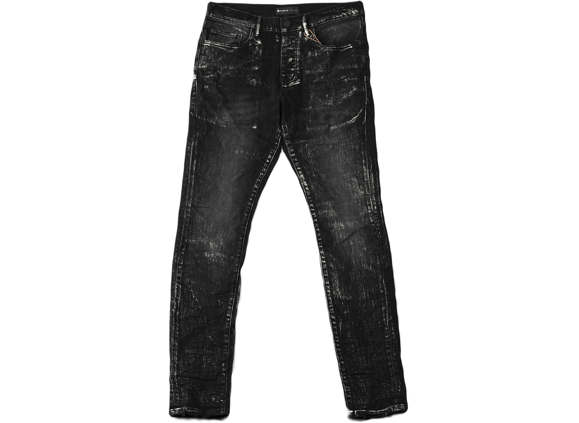 Purple Brand Black Wash Metallic Slim Fit Jeans xld