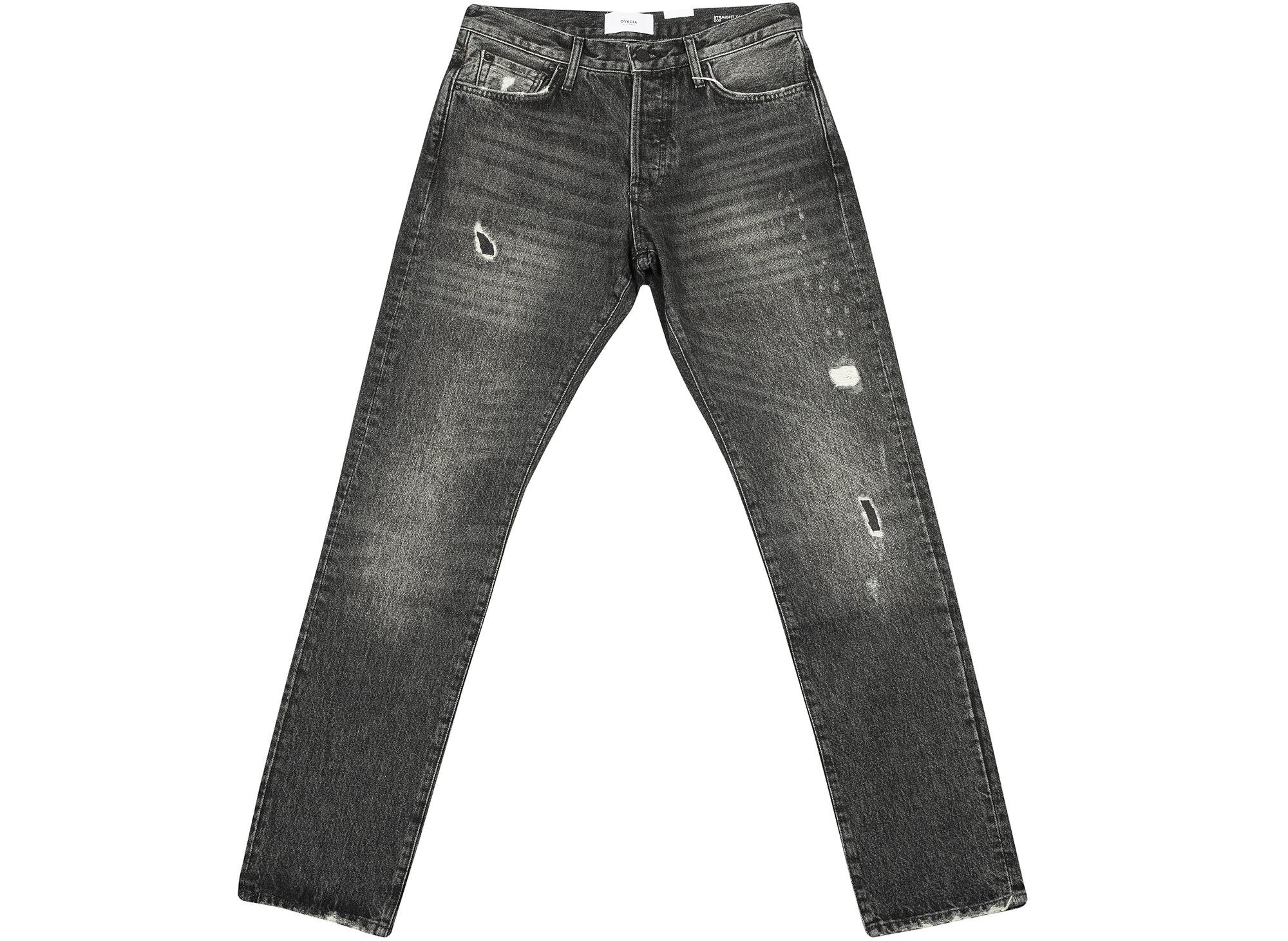 Ovadia and Sons Black Destroyed Straight Taper Denim