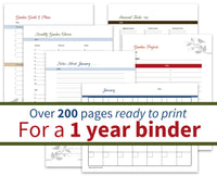 vegetable garden planner for a one year binder