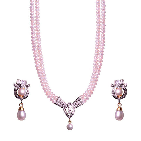 Beautiful Pearl Necklace Set With Crystal Pendant