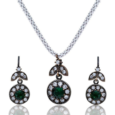 Green And White Pendant Set Without Chain