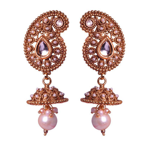 Beautiful Desgin Golden Jhumka With Pearl Drops