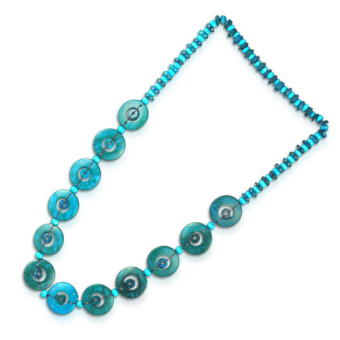 Buttons Blue Necklace