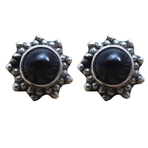 Black Stone Studded Sterling Silver Stud Earrings