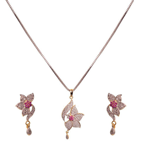 Designer Floral Pendant Set For Women