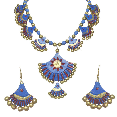 Blue Terracotta Necklace Set For Women