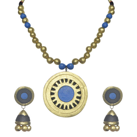 Blue And Golden Terracotta Necklace Set