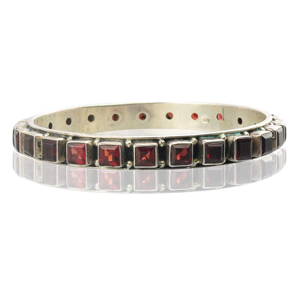 Silver Bracelet With Square Garnet Stones